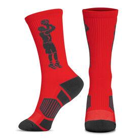 Basketball Woven Mid-Calf Socks - Player Jump Shot (Red/Black)