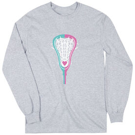 Girls Lacrosse Long Sleeve T-Shirt - Lacrosse Stick Heart
