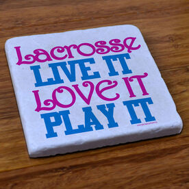 Lacrosse Natural Stone Coaster Lacrosse Live It Love It Play It