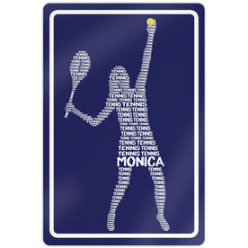 """Tennis Aluminum Room Sign Personalized Tennis Words Girl (18"""" X 12"""")"""