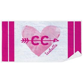 Cross Country Premium Beach Towel - Watercolor Heart Arrow