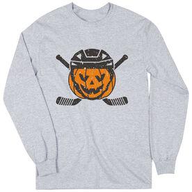 Hockey Long Sleeve T-Shirt - Helmet Pumpkin