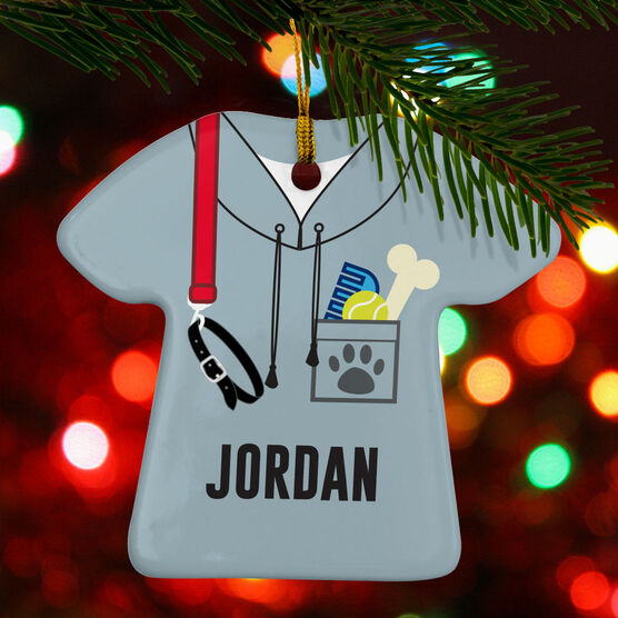 Personalized Porcelain Ornament - Dog Walker Outfit