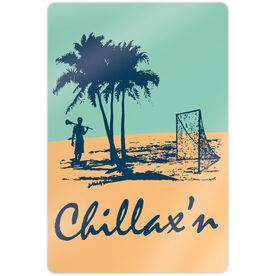 "Guys Lacrosse 18"" X 12"" Aluminum Room Sign - Chillax'n Beach Guy"