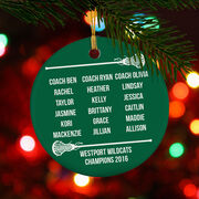 Girls Lacrosse Porcelain Ornament Personalized Team Roster