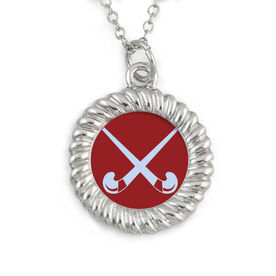 Braided Circle Necklace Field Hockey Crossed Sticks