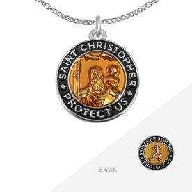 Runners St. Christopher Medal Necklace - Orange/Black (1.9cm)