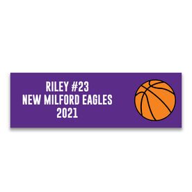 "Basketball 12.5"" X 4"" Removable Wall Tile - Personalized Team"