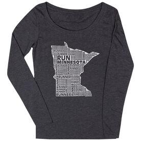 Women's Scoop Neck Long Sleeve Runners Tee Minnesota State Runner