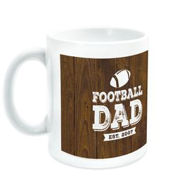 Football Coffee Mug Dad With Wood Background