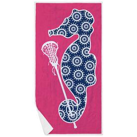 Girls Lacrosse Premium Beach Towel - Lax Seahorse