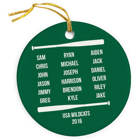 Baseball Porcelain Ornament Personalized Team Roster