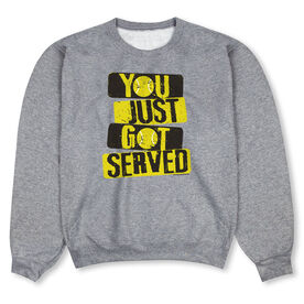 Tennis Crew Neck Sweatshirt - You Just Got Served with Neon Yellow