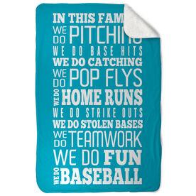 Baseball Sherpa Fleece Blanket We Do Baseball