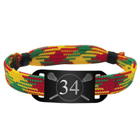 Personalized Guys Lacrosse Lace Bracelet Number with Crossed Sticks Adjustable Sport Bracelet