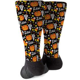 Girls Lacrosse Printed Mid-Calf Socks - Lax Halloween Pattern