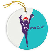 Cheer Porcelain Ornament Personalized Cheerleader Silhouette