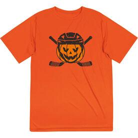 Hockey Short Sleeve Performance Tee - Helmet Pumpkin