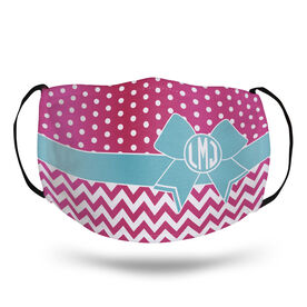 Cheerleading Face Mask - Monogram Bow with Chevron and Dots