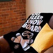 Snowboarding Premium Blanket - Eat. Sleep. Snowboard. Vertical