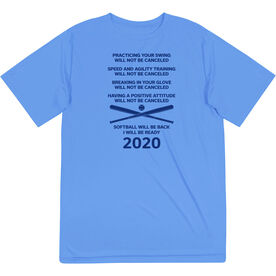 Softball Short Sleeve Performance Tee - Softball Will Be Back 2020 ($5 Donated to the American Red Cross)