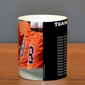 Baseball Coffee Mug Thanks Coach Custom Photo With Team Roster