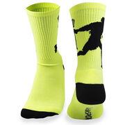 Guys Lacrosse Woven Mid-Calf Socks - Player (Neon Yellow/Black)