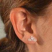 Livia Collection Sterling Silver Lacrosse Script Post Earrings