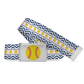 Softball Lifestyle Belt Cartoon Softballs with Chevron