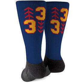 Softball Printed Mid-Calf Socks - Three Up Three Down