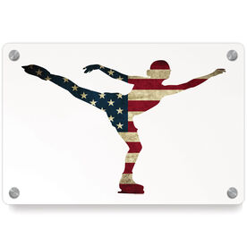 Figure Skating Metal Wall Art Panel - American Flag Silhouette