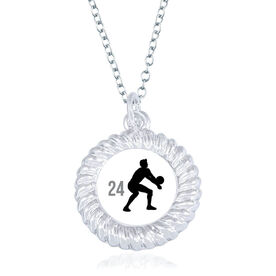 Volleyball Braided Circle Necklace - Male Player Silhouette With Number