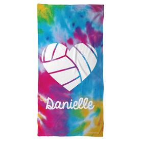 Volleyball Beach Towel Personalized Tie Dye Pattern with Heart