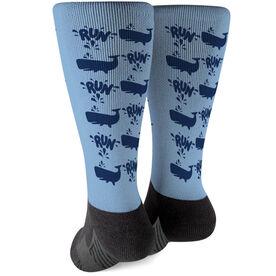 Running Printed Mid-Calf Socks - Whale Runner