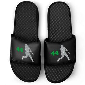 Baseball Black Slide Sandals - Batter with Number