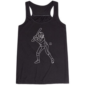 Softball Flowy Racerback Tank Top - Softball Batter Sketch