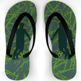 Soccer Flip Flops Playing With the Green