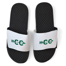 Cross Country White Slide Sandals - Cross Country Symbol