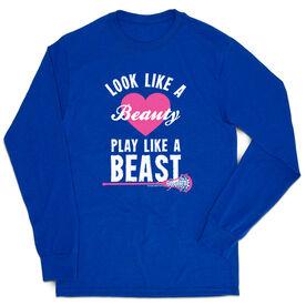 Girls Lacrosse Tshirt Long Sleeve - Look Like A Beauty Play Like A Beast