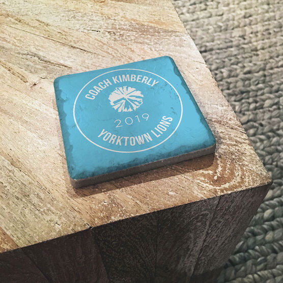 Cheerleading Stone Coaster - Personalized Thanks Coach with Bow
