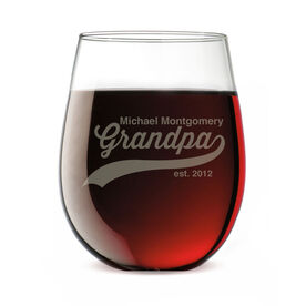 Personalized Stemless Wine Glass - Rocking Being A Grandpa