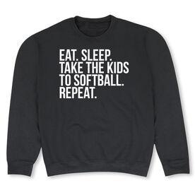 Softball Crew Neck Sweatshirt - Eat Sleep Take The Kids to Softball
