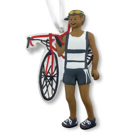 Triathlete Ornament - Black Male