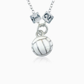 Sterling Silver Square Number Bead & Volleyball Ball Necklace