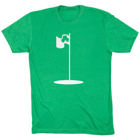 Golf TShirt Short Sleeve Shamrock Pin Flag