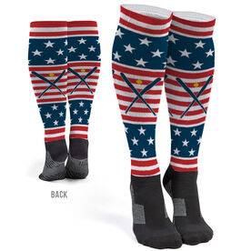 Softball Printed Knee-High Socks - USA Stars and Stripes