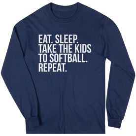 Softball Long Sleeve Tee - Eat Sleep Take The Kids To Softball