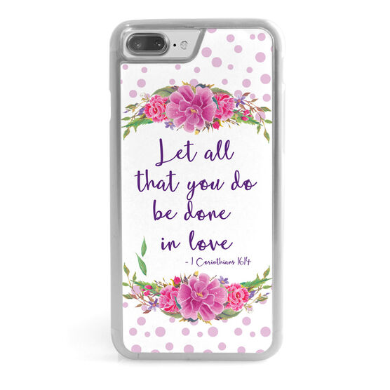 Personalized Iphone Case Polka Dot Flowers Custom Quote