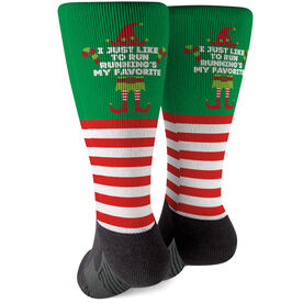 Running Printed Mid-Calf Socks - Running's My Favorite