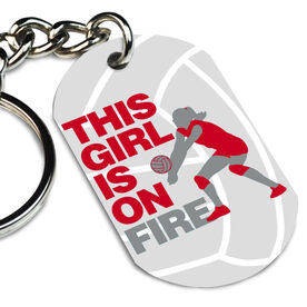 Volleyball Printed Dog Tag Keychain This Girl Is On Fire